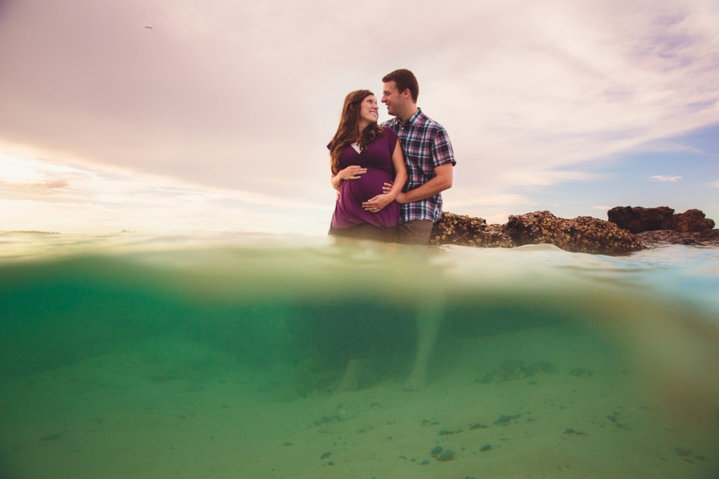 beach gold coast elephant rock sunset maternity photography underwater